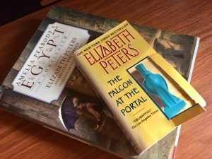 My first Elizabeth Peters paperback, Falcon at the Portal