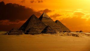 Egyptian pyramids at sunset