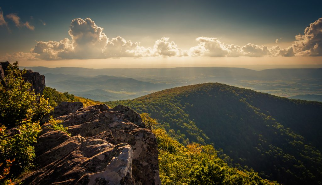 Evening view from cliffs on Hawksbill Summit, in Shenandoah National Park, Virginia.