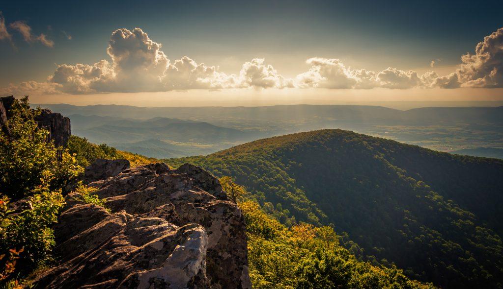 Evening view from cliffs on Hawksbill Summit, in Shenandoah National Park, Virginia.
